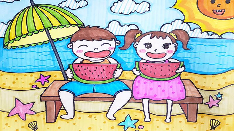 关于夏天儿童画